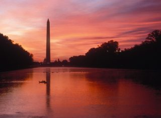 USA, Maryland, Washington DC, Washington Monument, sunset NCN